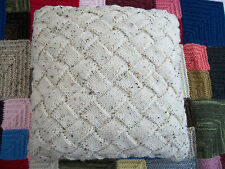 """Entrelac Cushion Cover, 16"""" ,Wool 20%/Acrylic 80% blend, Hand Knitted,Cream"""