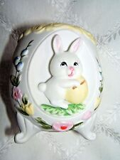 Lefton Handpainted Porcelain Footed  Egg Vase-  Bunny Holding Egg #1469