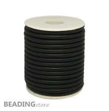 1Roll 2mm Black Synthetic Hollow Rubber Cord with Spool about 50~54m/roll