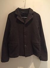 SHIRIN GUILD CHOCOLATE BROWN PINSTRIPE WOOL BOXY JACKET SZ S UK 10