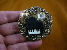 (M322-12) Piano keys music white stones brass pin pendant flowers