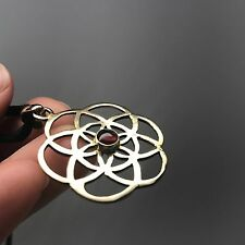 Seed of Life Sacred Geometry Brass Pendant with Garnet Stone Necklace