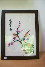 Pretty Vintage Oriental Silk signed tapestry - french Birds, embroidery #11