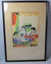 Signed Don Bloom Original Mid Century Watercolor/Pen & Ink Japanese Family Life