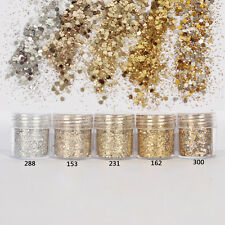 Fashion Mixed Nail Art Glitter Powder Champagne Gold Silver Sequins Makeup Set