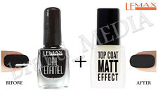 Lemax Top Coat EFECTO MATE nail Polish Endurecedor+NEGRO uña Esmaltado 9ml + 9ml
