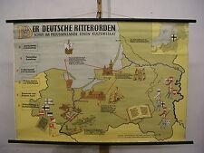 Schulwandkarte Wandkarte Karte Ritter Deutscher Ordensstaat Preussen 117x80cm