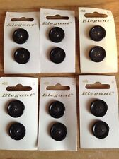 6 Cards Elegant Navy Deep Rim 20mm Buttons 4 Holes Sewing/Knitting/Crafts 456