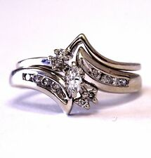 14k white gold SI2 H .22ct marquise diamond engagement ring wedding band 5.1g