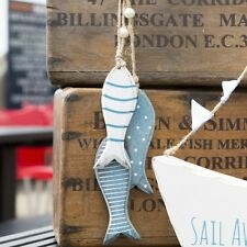 WOODEN HANGING FISH Blue Nautical Seaside Home Bathroom Shabby Chic Decoration