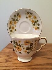 Queen Anne Bone China Cup & Saucer Yellow Flowers