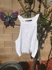 Forever 21 Halter Crop Top White Size L Sweater Material Stretchy Trendy