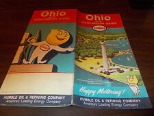 1962 Humble Oil OHIO Vintage Road Map / Perry's Victory Monument on Cover