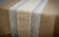 Burlap and lace table runner, table runner wedding decorations