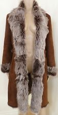 $3K Cole Haan Cognac Italy Toscana Lamb Sheepskin Shearling Mouton Fur Long Coat