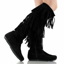 WomenTribal Indian  Three  Tassels Fringe Winter Mid Calf Sexy Dress Boot Shoes.