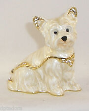KINGSPOINT WONDROUS WESTIE PEWTER  BEJEWELED HINGED TRINKET / JEWELRY  BOX