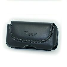 Black Horizontal Leather Cover Clip Side Holster Case Pouch For Nokia Asha 501