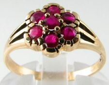 """DIVINE VICTORIAN 9K GOLD ENGLISH MADE RUBY """"DAISY"""" RING"""
