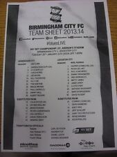 28/01/2014 Teamsheet: Birmingham City v Leicester City. Good condition unless pr