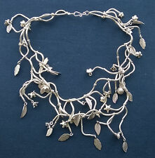 Stupendous quality solid 925 silver unique multi layered Flower leaf necklace 16