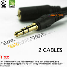 Premium 2Packs 1M 3.5mm Stereo Audio AUX Extension Cable M/F Auxiliary Cord GOLD