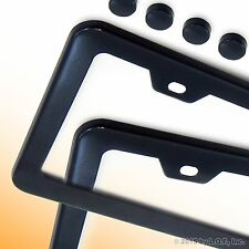 2PC BLACK STAINLESS STEEL METAL LICENSE PLATE FRAMES + SCREW CAPS TAG COVER / BF