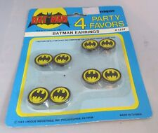 "Vintage 1989 Batman Party Favor ""earrings"" MIP (4 pair)"
