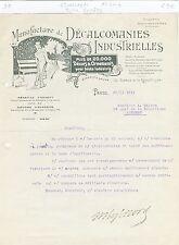 Paris XI ème - Belle Entête Manufacture de Décalcomanies Industrielles de 1911