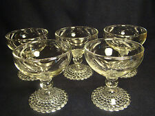 ANCHOR HOCKING Bubble Foot Clear Champagne Tall Sherbert Glasses Set of 5 @17