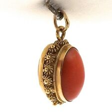 Art Deco 18K Gold Natural Red Coral Ornate Beaded Bauble Charm Pendant 5.4gr