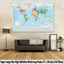 World Map Super Large Teaching Political Flags Wall Chart Poster Home Art Decor