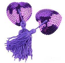 Accessoire beauté sexy : bijou de seins , cache tétons nipples paillettes violet