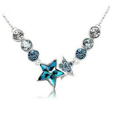 Fashion Swarovski Elements Crystal Star Blue Bib Pendant Necklace Gift Box P24