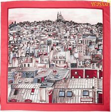 LONGCHAMP rose border PARIS ROOFTOPS view of MONMATRE silk scarf NIB Authentic!