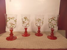 """Studio Nova Crystal Holly Berry Red Set of 4 Water Goblets 7 1/2"""" NWT"""