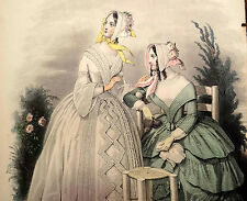 LE FOLLET 1845 Hand-Colored Fashion Plate #1253 Beautiful Gowns ORIG. PRINT