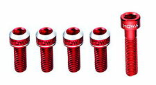 MOWA Road MTB Bike Water Bottle Cage Bolts w/Headset Star Nut Bolt 5pcs Red