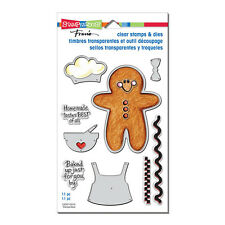 STAMPENDOUS RUBBER STAMPS CLING GINGERBREAD DIE SET + CLEAR SAYINGS STAMP SET