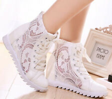 Womens Stylish Lace Up Mesh Hidden Wedge Heel High Top Sport Sneakers Shoes Size