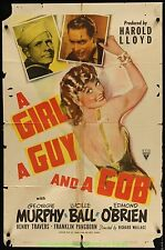 A GIRL, A GUY, & A GOB MOVIE POSTER 27x41 Fld Poor ONE SHEET 1941 LUCILLE BALL