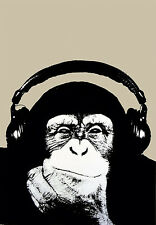 STEEZ: THINKING MONKEY WITH HEADPHONES - POP-ART POSTER / PRINT