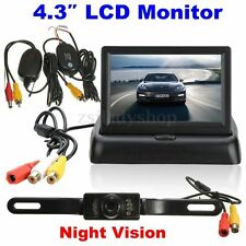 "Wireless Rear View Kit 4.3""Foldable LCD Monitor+IR Night Vision Reversing Camera"