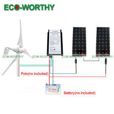 24V 700W Hybrid Kit: Low Noise 400W Wind Turbine Generator&320W Mono Solar Panel