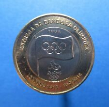 BRAZIL - BIMETAL 1 REAL COIN 2012 UNC YEAR FLAG RIO LONDON OLYMPIC GAMES #R953#