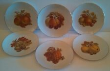 SET of (6) BAREUTHER WALDSASSEN BAVARIA GERMANY FRUIT DECOR LUNCH SALAD PLATES