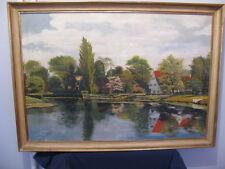 """tableaux peinture ancienne peinture """" Bord d'Etang """" signée j.c oudart"""
