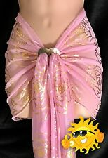 Ladies Baby Pink CHIFFON SARONG with GOLD Roses NEW UK Seller