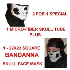 SKULL BANDANA & SKULL TUBULAR FACE MASK COMBO GHOST BIKER SPECIAL 2 FOR 1 PRICE