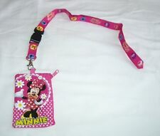 Hot Pink Minnie Mouse Lanyard Disney Licensed Zipper Fast Passes ID Badge Holder